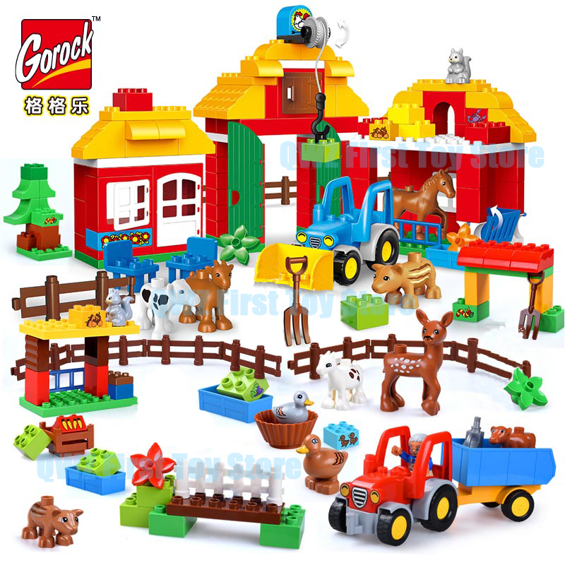 Educational Toys Big Building Blocks Farm Animal Set Assemble Bricks Toys For Children Gift Compatible With Duplo