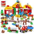 Обучающие игрушки, строительные блоки большого размера, набор для сборки животных на ферме, кирпичи, игрушка для детей, подарок, совместим с ...