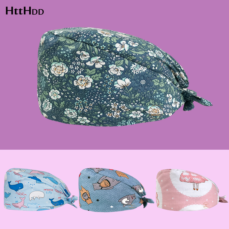 Htthdd High Quality Medical Work Caps Operating Room Hat Surgical Cap Pet Hospital For Long Hair Doctor Surgery Caps Scrubs Cap