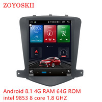 Android 8.1 9.0 os 10.4 inch IPS vertical HD screen car gps multimedia radio navigation player for Chevrolet Cruze 2009 2015
