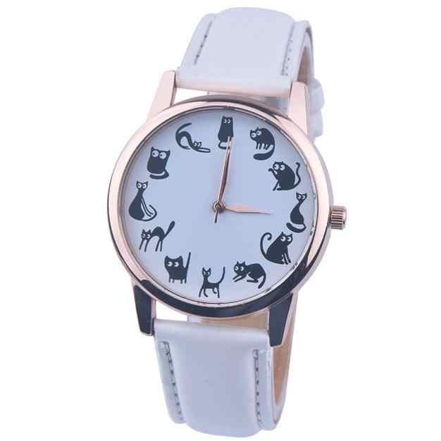 Moda kadınlar kedi saatler baskı sevimli kedi Analog Quartz saat deri bant часы женские reloj mujer שעון לאישה dameshorloge # L0