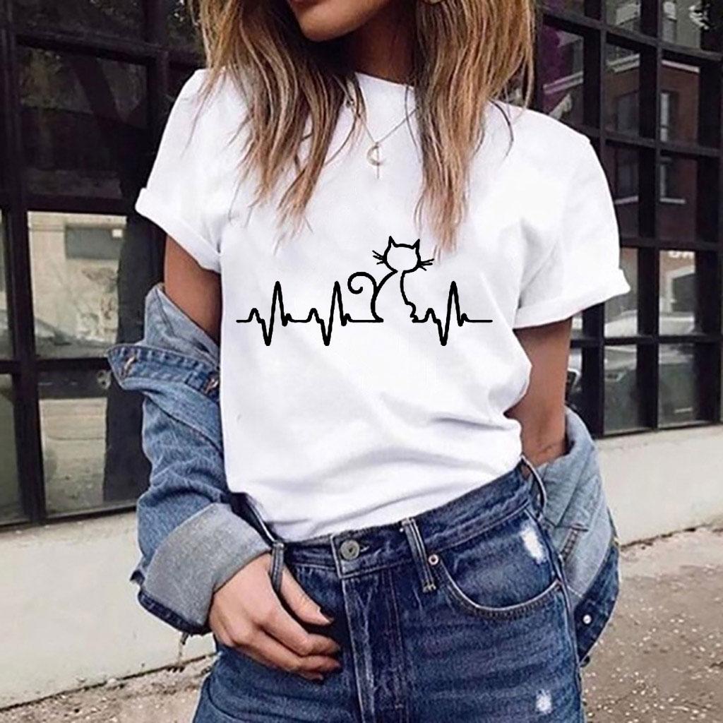 I Love Cats T-shirt Electrocardiogram Cats Harajuku Fashion Graphic Tees Women Funny Slim Cute Girl's Tshirts Tees & Tops Summer