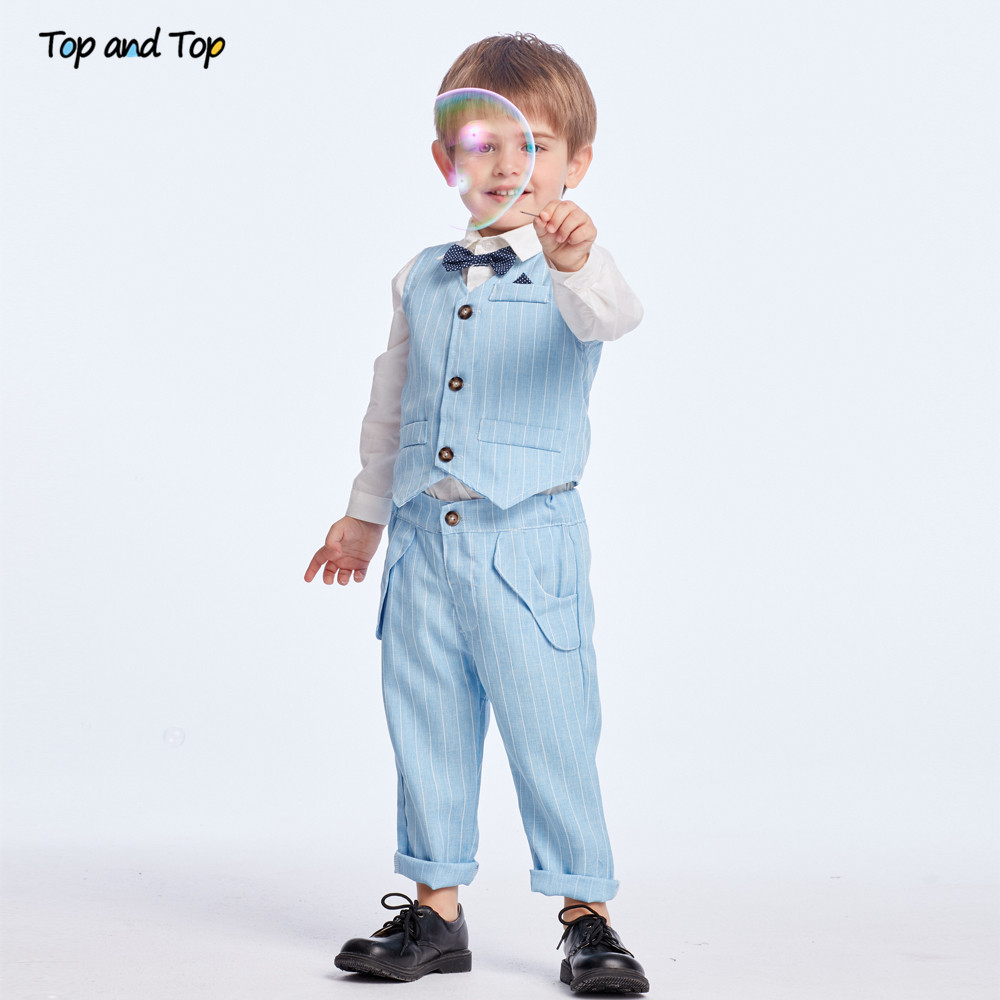 Top and Top Spring&Autumn Baby Boy Gentleman Suit White Shirt with Bow Tie+Striped Vest+Trousers 3Pcs Formal Kids Clothes Set 2
