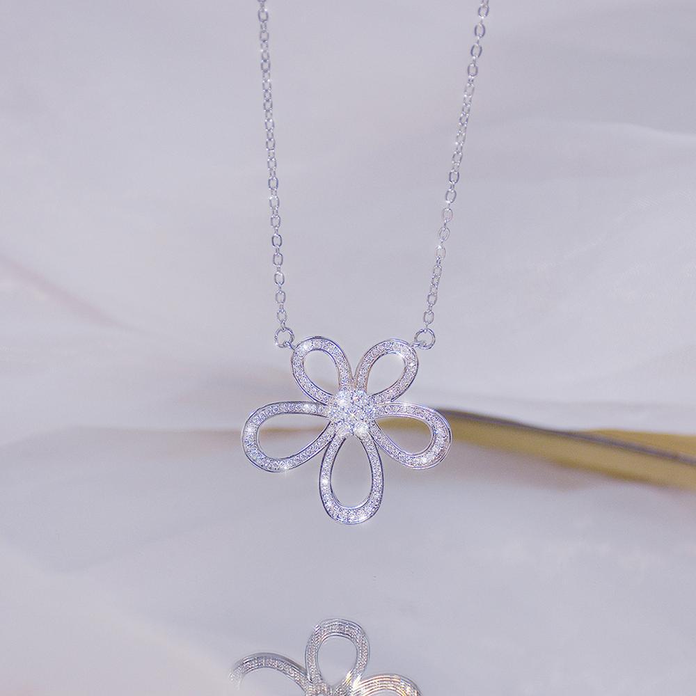 Ins offre spéciale de luxe 14k véritable or soleil fleur femmes collier délicat Bling Micro incrusté Zircon Colar bijoux cadeau d'anniversaire 2