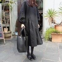 2019 Fashion Women O Neck Puff Sleeve Midi Dress Straight Patchwork Oversize Black Loose Dress Female Ruffles Casual Dress