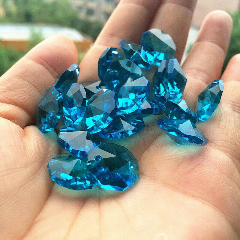 Camal 50Pcs 14MM Light Blue Chandelier Prism Crystal Octagonal Loose Beads 2 holes Lamp Part Suncatcher Garland Hanging DIY