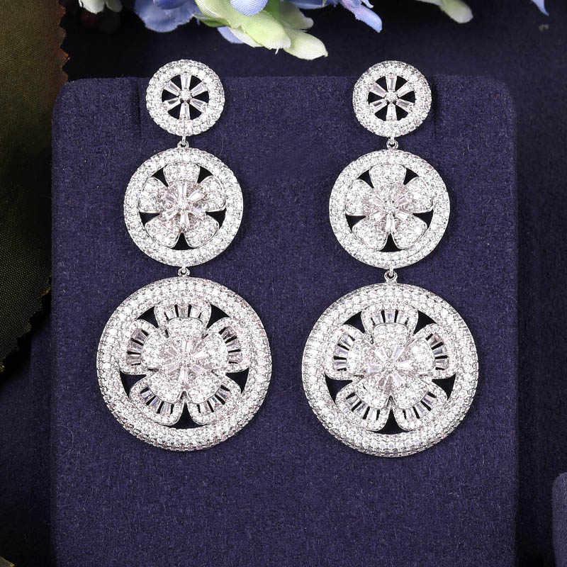 JANKELLY luxe à la mode annuel cercle conception pleine Mirco pavé cristal Zircon Naija mariage goutte boucle d'oreille bijoux de mode