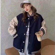 2021 jaqueta feminina quatro estações estudante uniforme de beisebol maré nova versão coreana solto mais veludo grosso camisola jaqueta feminina