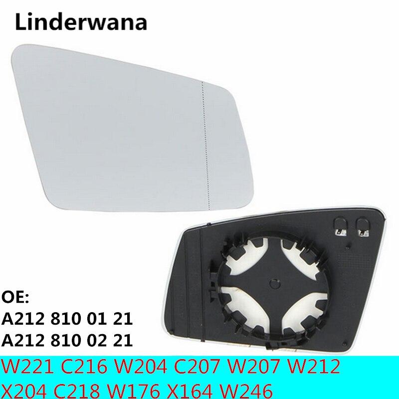 2 enchufe espejo con cristal calefactado para Mercedes-Benz W221 C216 W204 C207 W207 W212 X204 C218 W176 X164 W246 212 810 01 21 212 810 02 21