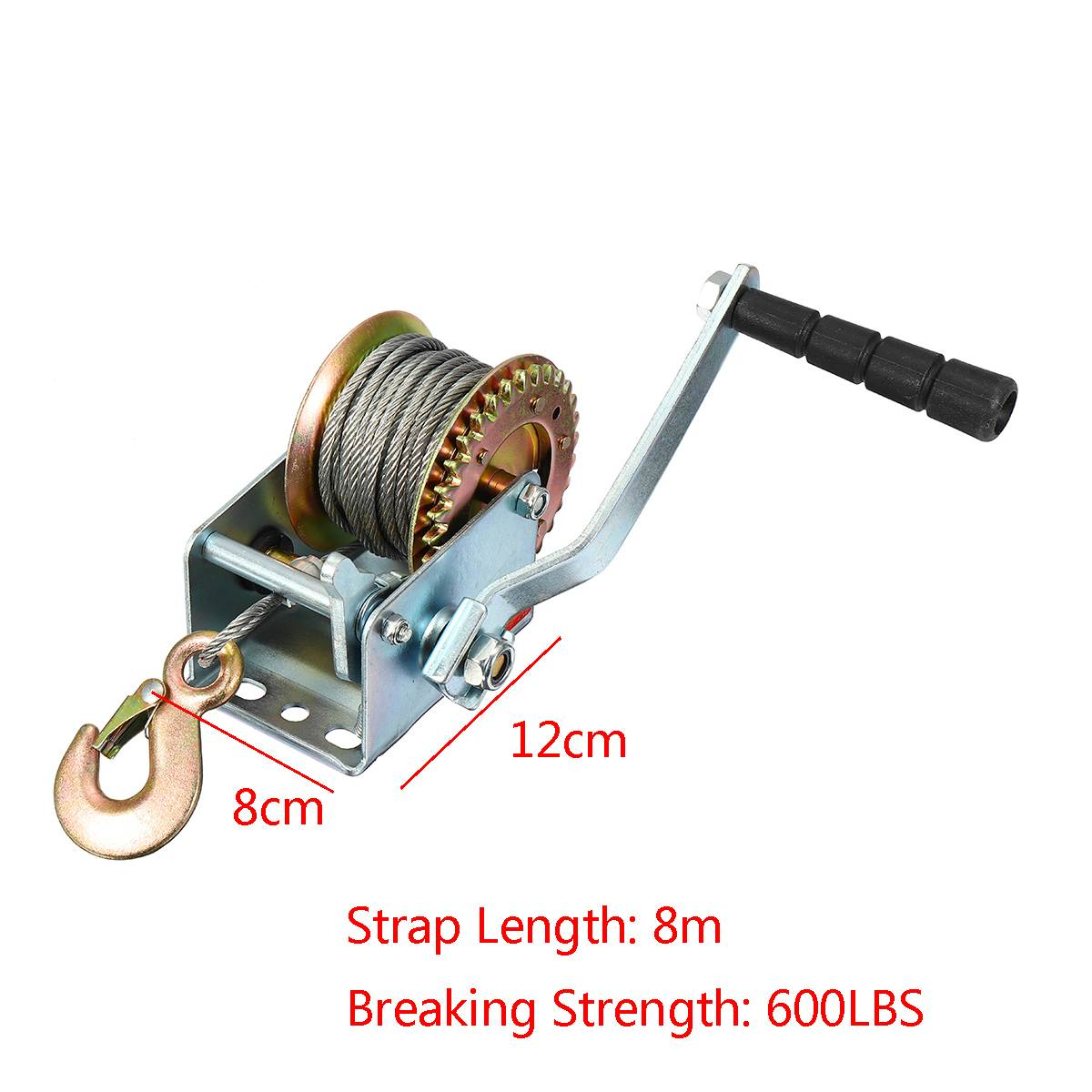 600lbs Boat Truck Auto Portable Hand Manual Winch With Webbing Sling, Hand Tool Lifting Sling 8M Steel Cable