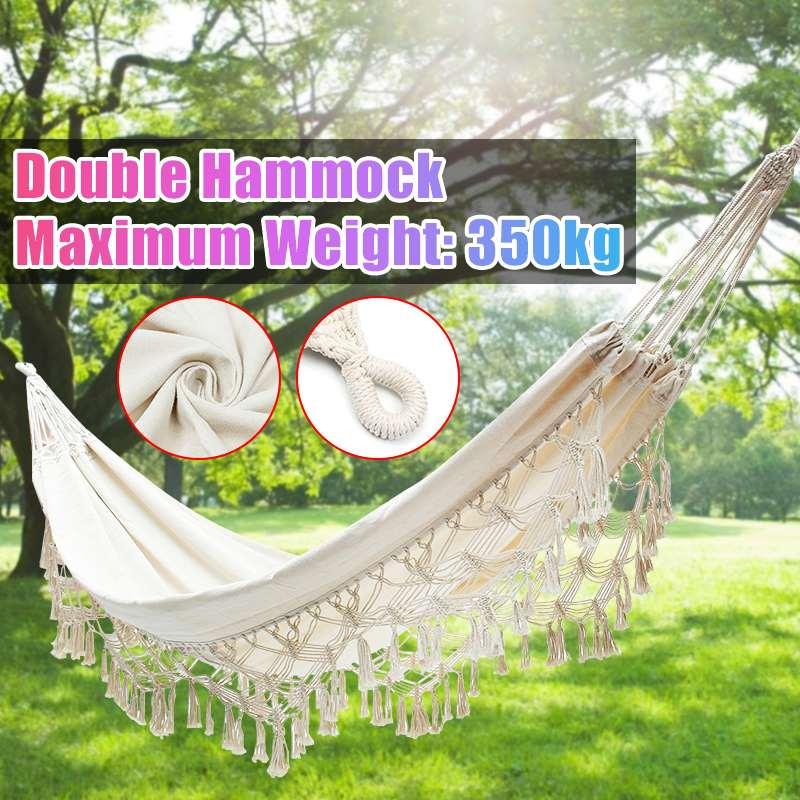 Nordic Double Person Hammock Outdoor Garden Swing Bed Chairs Indoor Furniture Cotton Sleeping Hamaca Morocco Leisure Hanging Bed