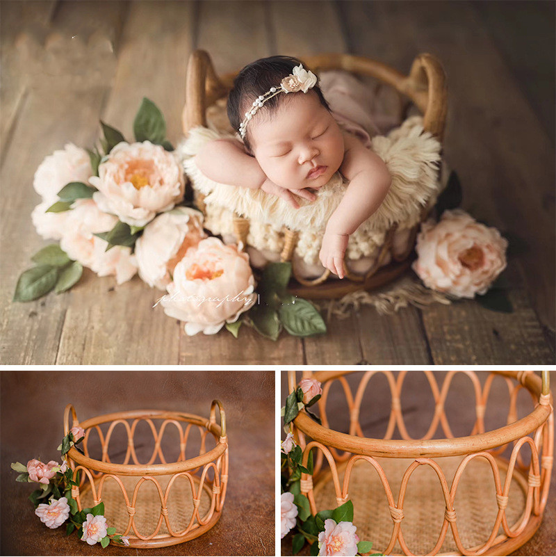 Newborn Photography Pros Baby Posing Props Photo Basket Infantil Shoot Container Weaving Basket Baby Shooting Accessories