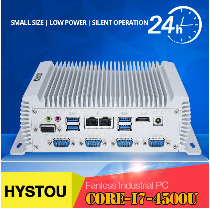 HYSTOU Newest Modle Intel Quad Core Minipc Dual Nuc I7 4500U I5 4200u Linux Industrial Computer COM HDMI VGA Thin Client