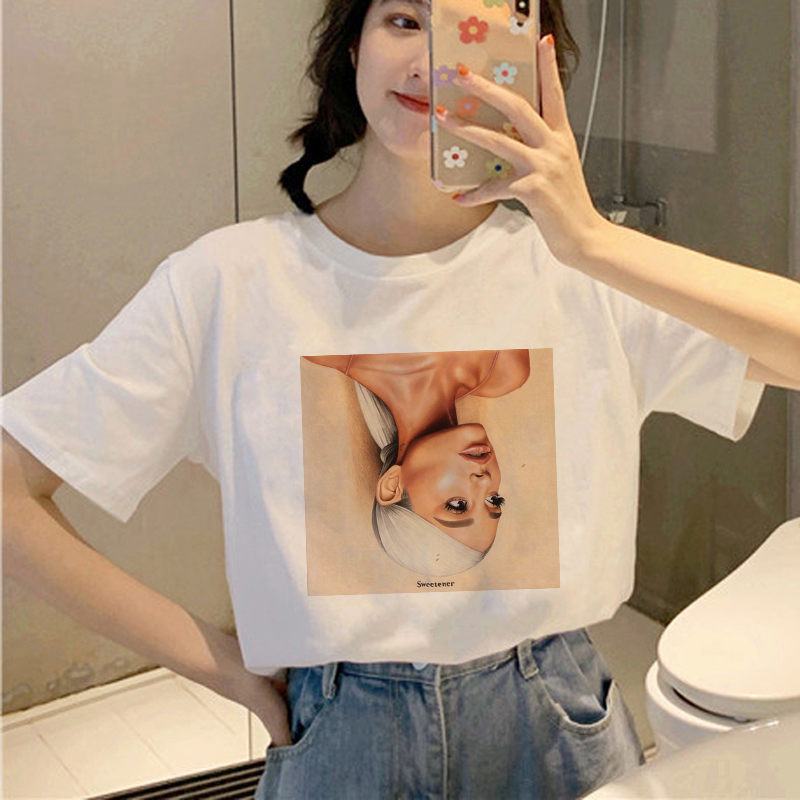 Showtly  Ariana Grande T Shirt Women 7 Rings Fashion Harajuku 90s Hip Hop Short Sleeve Ullzang T-shirt Top Tee Female