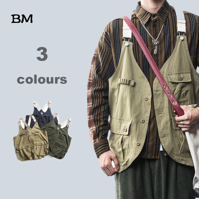 Fashions Korean Style Vest Men Streetwear High Quality Hip Hop Sleeveless Jacket Military Tooling Multi-Pocket Tactical Coat