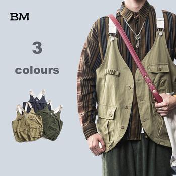 Moda w stylu koreańskim kamizelka męska Streetwear wysokiej jakości hip-hopowy bezrękawnik wojskowy oprzyrządowanie multi-pocket płaszcz wojskowy tanie i dobre opinie COTTON 191211395 Stałe Pojedyncze piersi NONE Kurtki płaszcze Kołnierzyka REGULAR Hip Hop Vest
