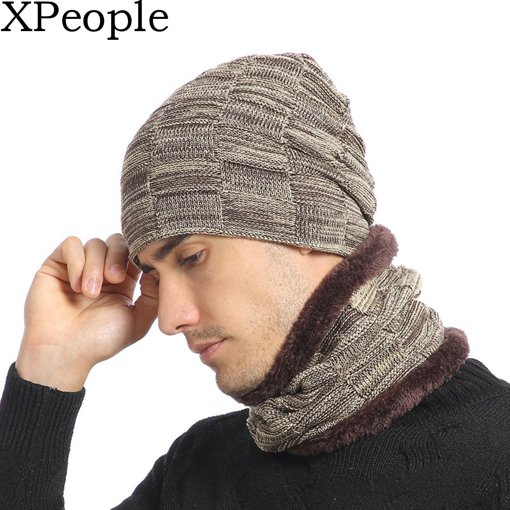 2 Pieces Winter Knit Beanie Hat Warm Knit Hat Winter Hat  Scarf For Men Women Winter Snow Thicken Warmer Knitted Beanie Hat