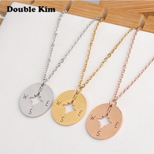 Classic Compass Stainless Steel Necklace for Women Lover's Gold and Silver Color Tiny Round Compass Pendant necklace Jewelry chereda stainless steel necklace for women man lover s girl gold and silver color pendant necklace engagement jewelry