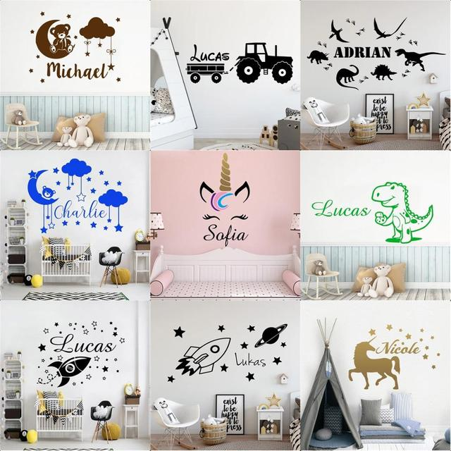 20 Style Personalized Custom Name Vinyl Wall Sticker Decals For Babys Kids Room Decoration Wallpaper Stickers Murals Wall Decor