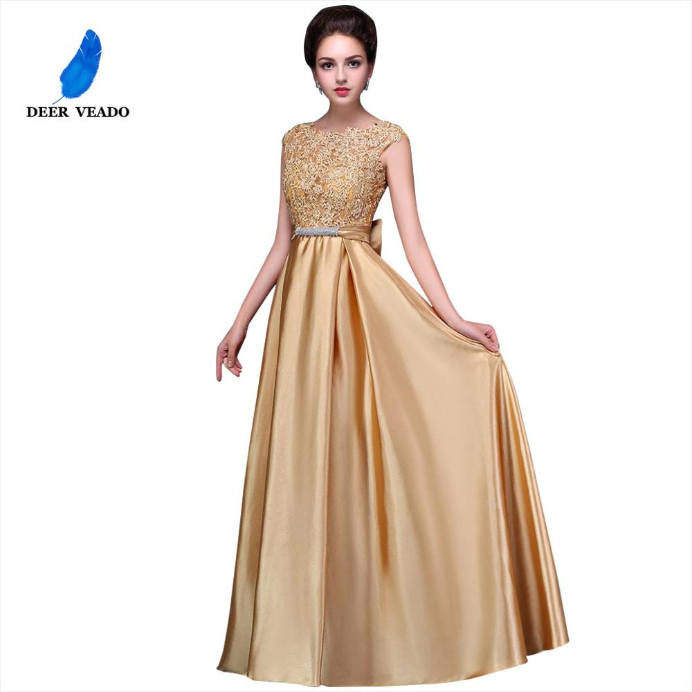 DEERVEADO Sexy Open Back Long Golden Evening Dress Plus Size  Evening Gown Formal Prom Party Dresses Robe De Soiree S306evening  dresslong evening dressevening dress beaded