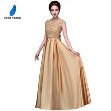 DEERVEADO Sexy Open Back Long Golden Evening Dress Plus Size Evening Gown Formal Prom Party Dresses Robe De Soiree S306