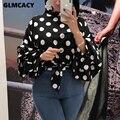 Женская блузка в горошек с длинным рукавом, классическая офисная одежда, шикарная Осенняя рубашка, топы, Повседневная Уличная одежда