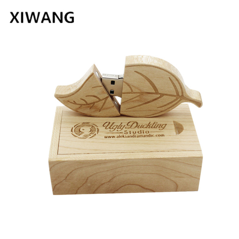 XIWANG Natural Wood Bamboo Leaves Memory Stick U Disk + Pendrive Box 2.0 4G 8GB 16GB 32GB 64GB USB Memory Card Pen Wedding Gift