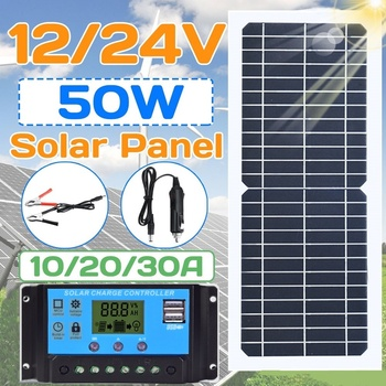 New 50w/100w Solar Panel Flexible With 10-20A 12V 24V Controller Car Charger For RV Car Boat LCD Display PWM Controller
