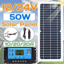 Nowy 50w 100w Panel słoneczny elastyczny z 10-20A 12V 24V kontroler ładowarka samochodowa dla RV samochodów łódź wyświetlacz LCD kontroler PWM tanie tanio BOGUANG None 440*190mm Monokryształów krzemu