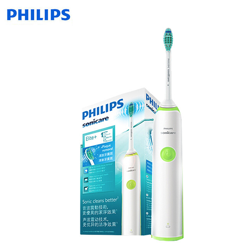 Philips HX3216 Sonicare Electric Toothbrush with Easy Click-On Brush Heads and Light Shows Battery Status for Aduls Rechargeable image