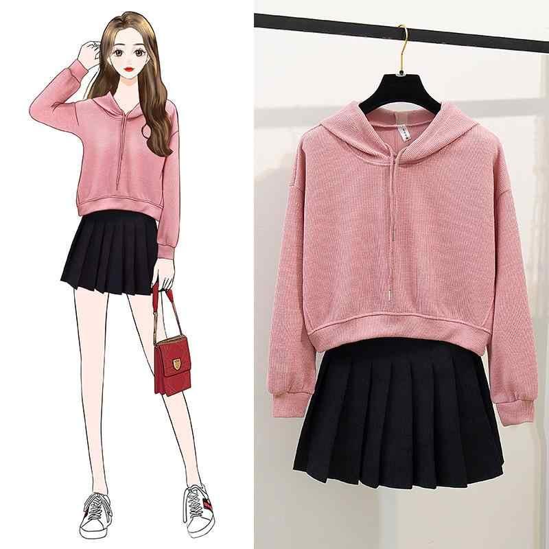 Ichoix Casual Hoodies 2 Piece Set Women Korean Crop Tops 2 Piece Outfits Sweatshirt Student Pleated Mini Skirt Set Girl Suits Women S Sets Aliexpress