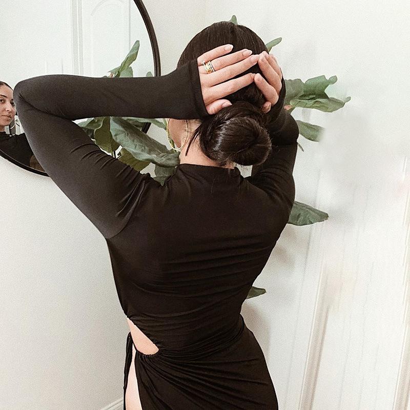 Женское платье с длинными рукавами и завязками стильное сексуальное