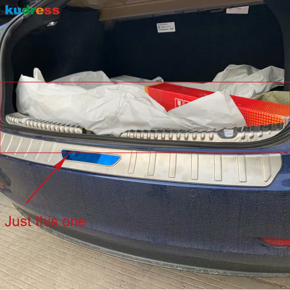 For Tesla Model 3 2018 2019 Car styling Stainless Steel Interior Rear Bumper Protector Sill Trunk