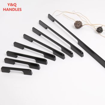 Handles Drawer Cabinet Furniture Kitchen Handles for Wardrobe Doors and Windows Black Long Modern Simplicity Aluminum Hardware image