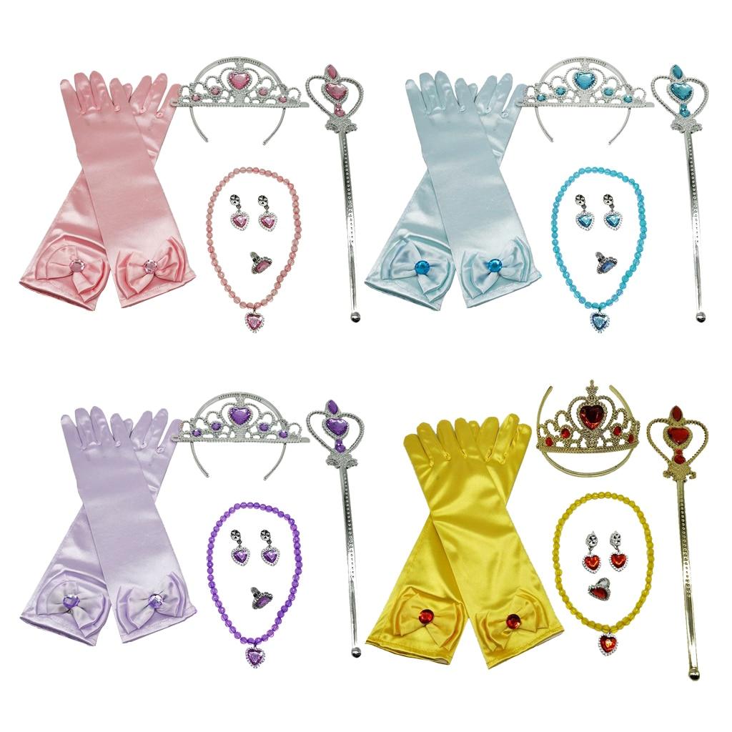 Kit daccessoires pour déguisement princesse | Gants, Angle diadème, baguette féerique, ensemble de bijoux, déguisement, jouet de jeu de rôle pour enfants