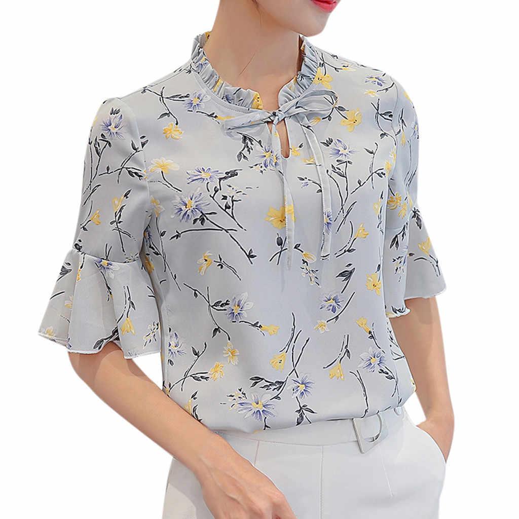 CHAMSGEND kadın şifon bluz gömlek 2019 yaz iş ofis parlama kollu papyon çiçek baskı şifon Tee gömlek üst kadın için