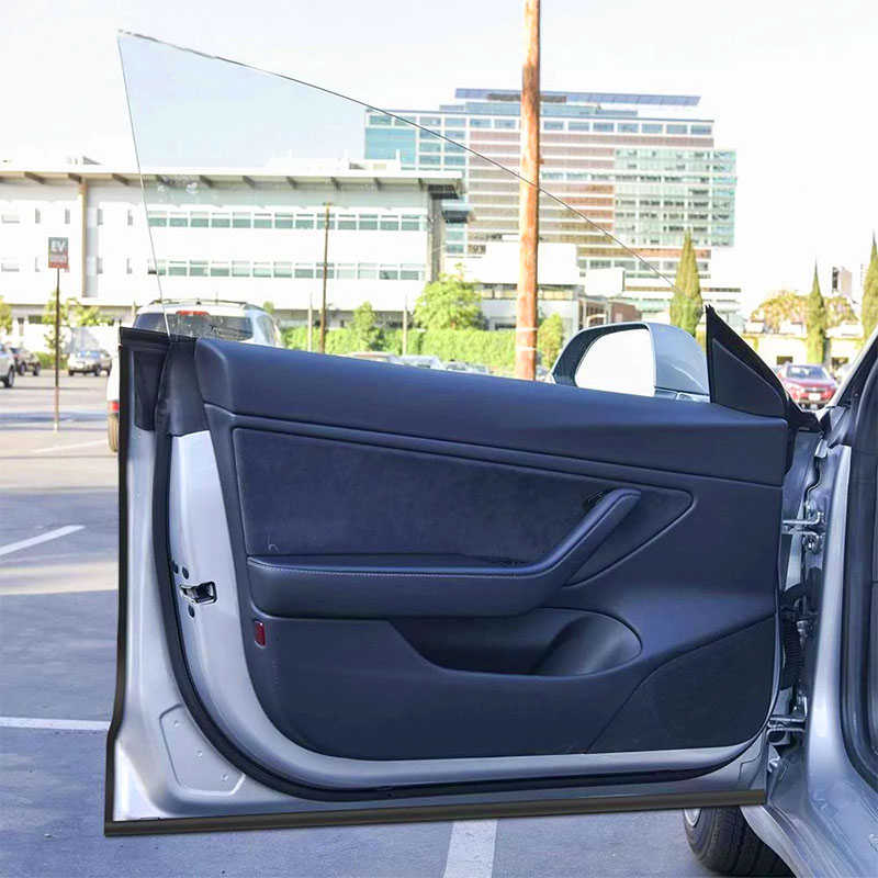 10pcs 자동차 도어 트림 몰딩 고무 도어 씰 키트 방음 고무 날씨 초안 인감 스트립 테슬라 모델 3 자동차 액세서리