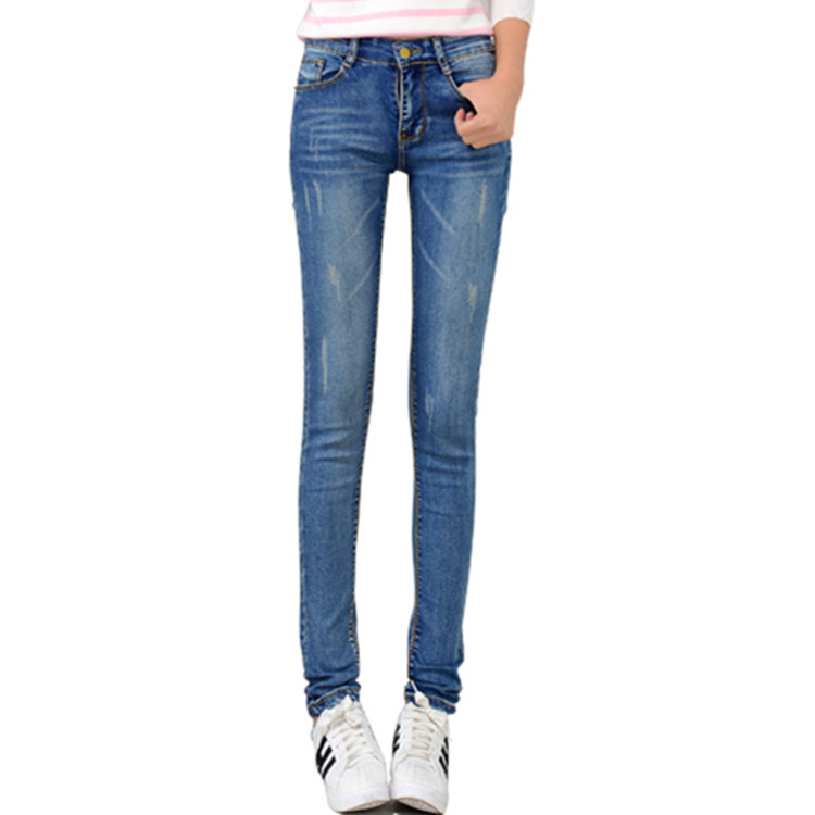 Photo Shoot 2019 Spring And Autumn Women's Korean-style Medium Waist Slim Fit Slimming Faded Catch Pattern Skinny Pants Jeans Fa