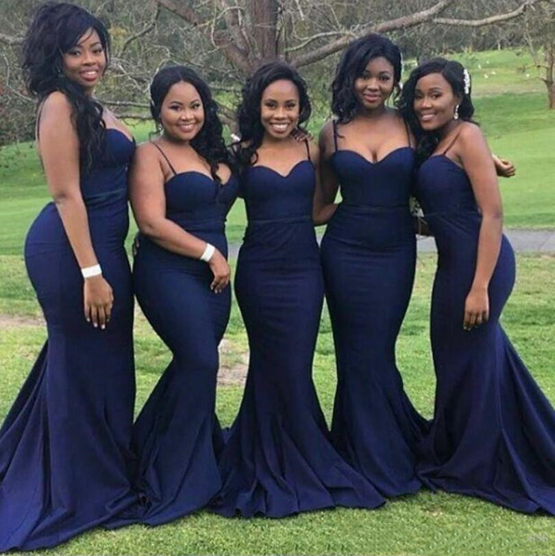 African Dark Blue Mermaid Bridesmaid Dresses Sexy Spaghetti Straps Sweetheart Maid Of Honor Gowns Satin Custom Made Wedding Gues