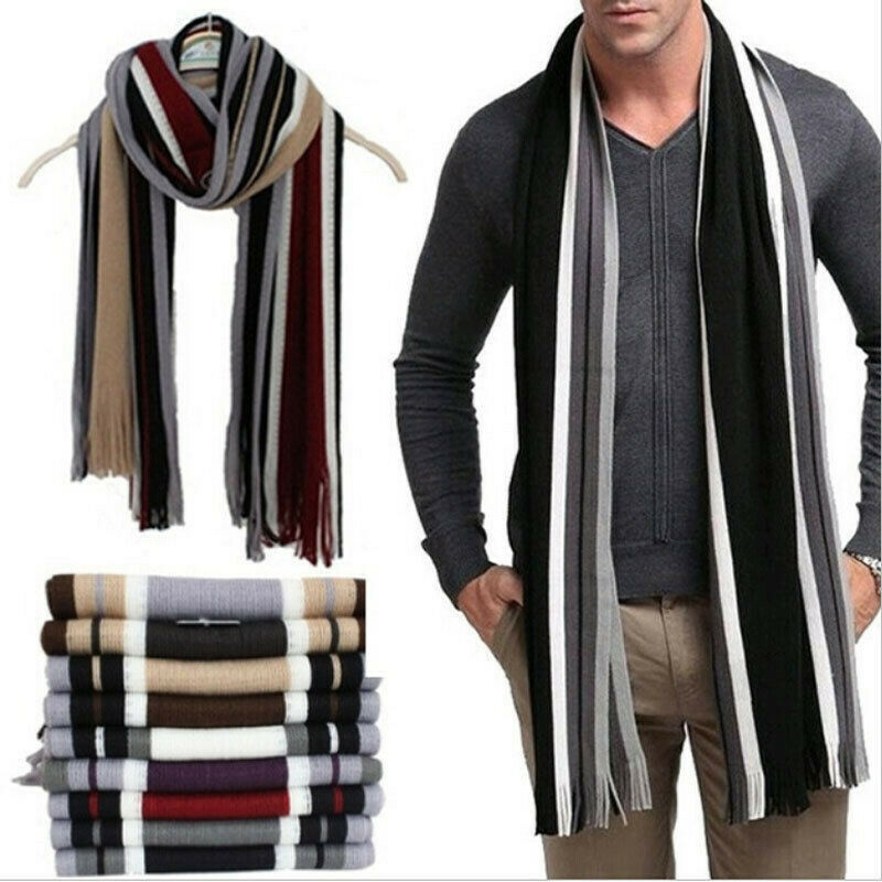 Goocheer 8 Colors New Men Classic Warm Winter Cashmere Shawl Strip Tassel Long Soft Scarf Muffle