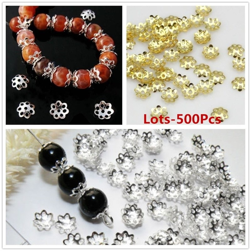Wholesale 500pcs/Lots Silver Gold Plated 6mm Metal Filigree Flower DIY Bead End Caps Findings For Jewelry Making