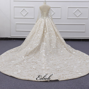 Image 4 - Eslieb Ball Gown Dress Rhinstone Beadings Pearl Crystals Champagne Lace Lace Up Back Custom Made Full Sleeves