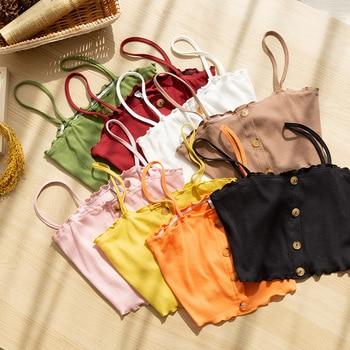 Ребристый женский хлопковый укороченный топ с рюшами, спагетти, сексуальная пуговица, корейский черный топ на бретелях, camiseta размера плюс, M30365