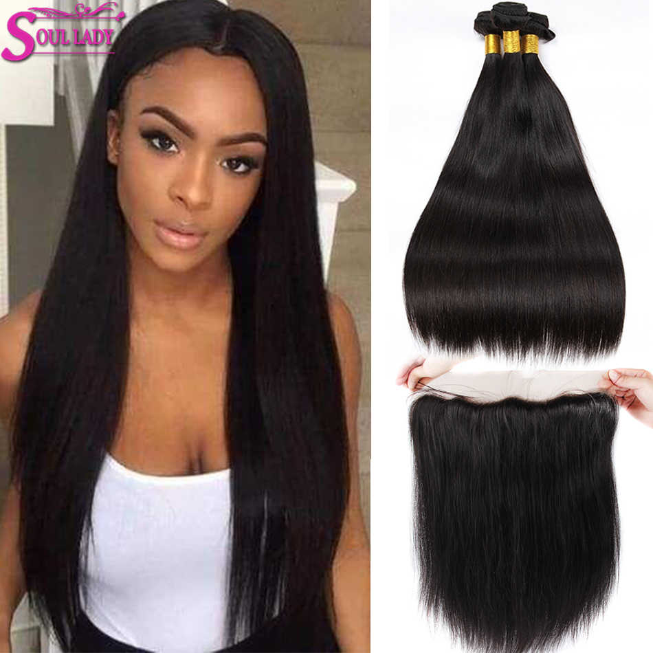 Soul Lady Brazilian Straight Hair 3 Bundles With Frontal Baby Hair 100% Human Hair Ear To Ear Lace Frontal Closure With Bundles