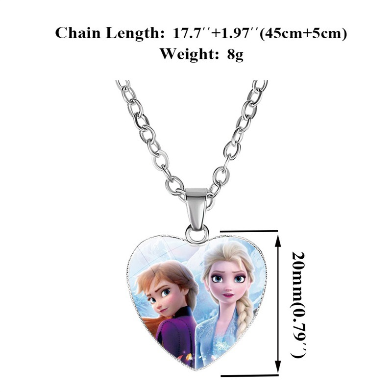 Disney Frozen 2 Love Necklace Children's Cartoon Elsa Princess Anna Heart Shaped Pendant Girl Necklace Accessories Kids Gifts