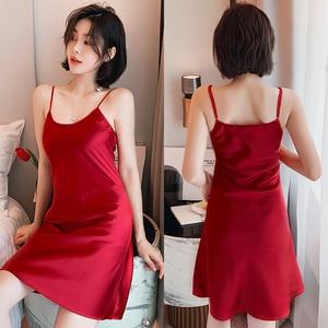 Image 5 - Womens Nightgown Sleepwear Sexy Sleepwear Condole Belt Nightgown Simulation Silk Home Sleeping Dress Women Sleepwear Sleep Wear