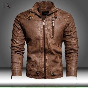 Image 1 - Veste en cuir PU hommes noir hiver automne mode manteaux hommes Style de rue col montant moto Bomber homme cuir pardessus