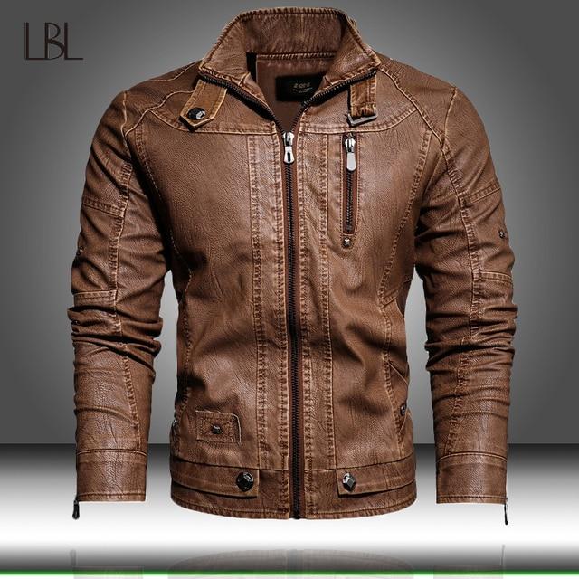 Veste en cuir PU hommes noir hiver automne mode manteaux hommes Style de rue col montant moto Bomber homme cuir pardessus