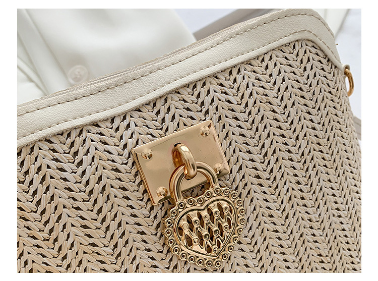 Fashioned Straw Crossbody Bags for Women 2021, with Beige Color