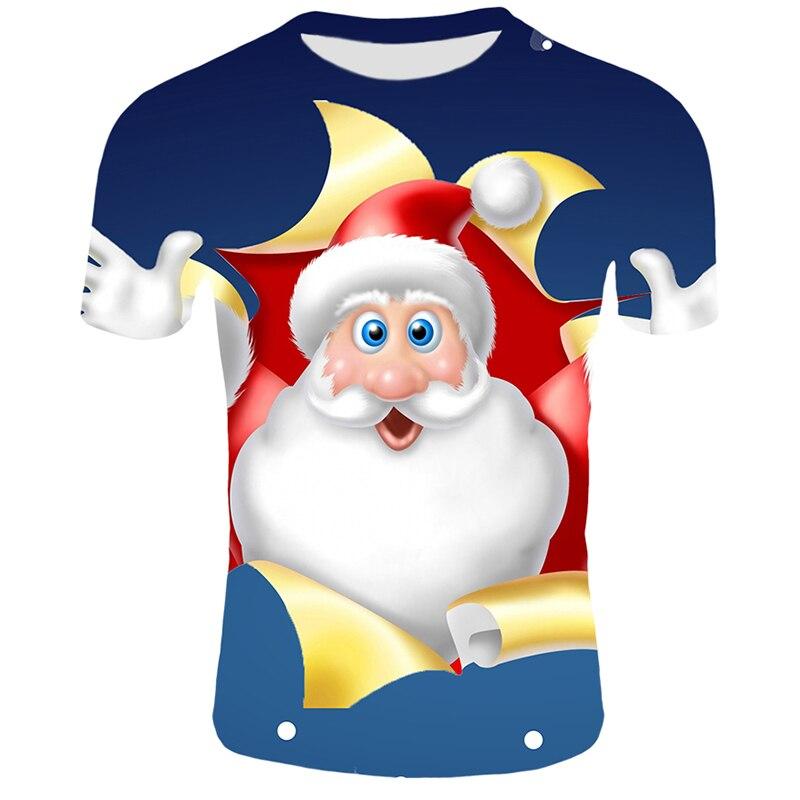 Модные футболки с рождественским узором, мужские Забавные футболки с принтом Санта-Клауса, повседневные 3d футболки, вечерние футболки со снеговиком, одежда с коротким рукавом - Цвет: T25